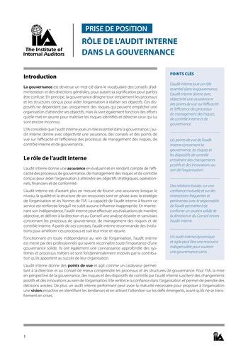 Prise de position - Rôle de l'audit interne dans la gouvernance / IIA page 1