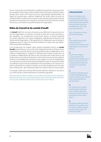 Prise de position - Rôle de l'audit interne dans la gouvernance / IIA page 2