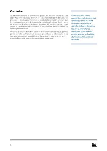 Prise de position - Rôle de l'audit interne dans la gouvernance / IIA page 3