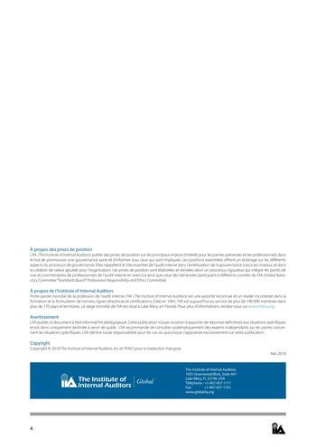 Prise de position - Rôle de l'audit interne dans la gouvernance / IIA page 4