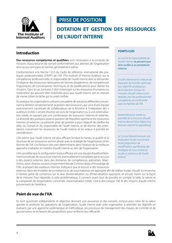 Prise de position - Dotation et gestion des ressources de l'audit interne / IIA page 1