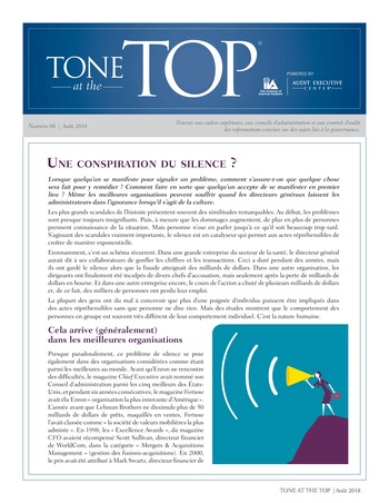 Tone at the top 88 - Une conspiration du silence? / août 2018 page 1