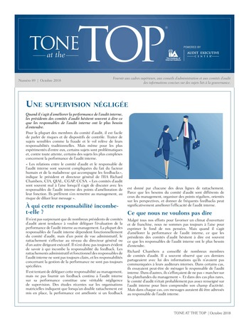 Tone at the top 89 - Une supervision négligée / oct 2018 page 1