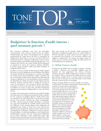 Tone at the top 90 - Budgétiser la fonction d'audit interne : quel montant prévoir ? / dec 2018 page 1