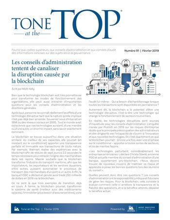 Tone at the top 91 - Les conseils d'administration tentent de canaliser la disruption causée par la blockchain / Fev 2019 page 1