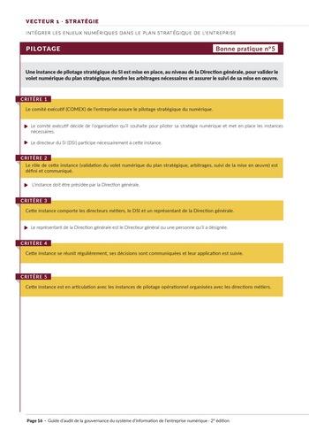 Guide d'audit de la gouvernance du Système d'Information de l'entreprise numérique - 2ème édition page 18