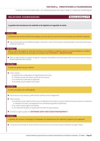 Guide d'audit de la gouvernance du Système d'Information de l'entreprise numérique - 2ème édition page 85