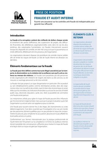 Prise de position - Fraude et audit interne / IIA page 1