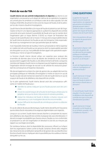 Prise de position - Fraude et audit interne / IIA page 2