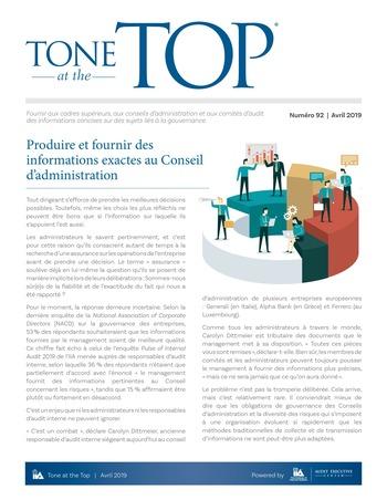 Tone at the top 92 - Produire et fournir des informations exactes au Conseil d'administration / avril 2019 page 1
