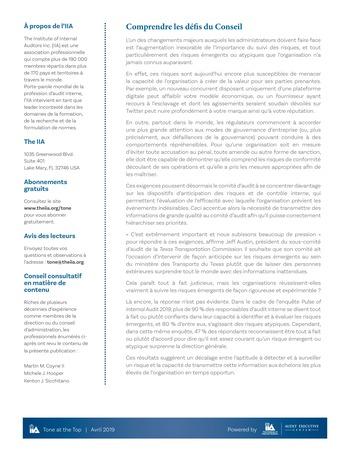 Tone at the top 92 - Produire et fournir des informations exactes au Conseil d'administration / avril 2019 page 2
