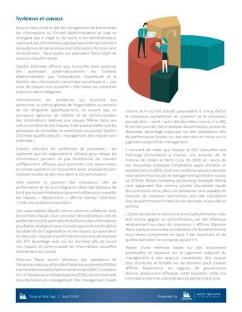 Tone at the top 92 - Produire et fournir des informations exactes au Conseil d'administration / avril 2019 page 3