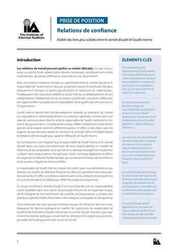 Prise de position - Relations de confiance / IIA page 1