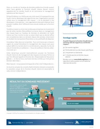 Tone at the top 93 - L'audit flirte avec le management des risques / juin 2019 page 4