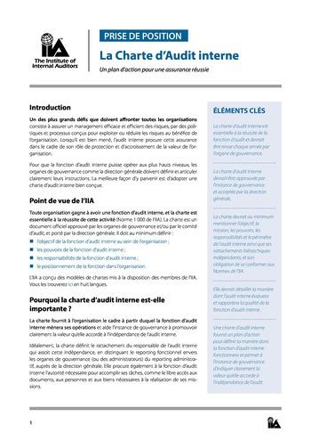 Prise de position - Charte d'Audit interne / IIA page 1