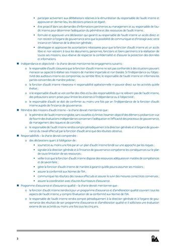 Prise de position - Charte d'Audit interne / IIA page 3
