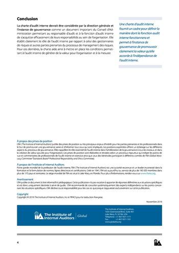 Prise de position - Charte d'Audit interne / IIA page 4