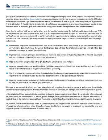 Perspectives internationales - Optimiser la gestion des talents dans un environnement d'audit en constante évolution page 13