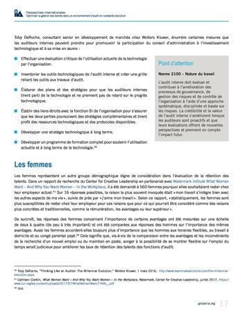 Perspectives internationales - Optimiser la gestion des talents dans un environnement d'audit en constante évolution page 17