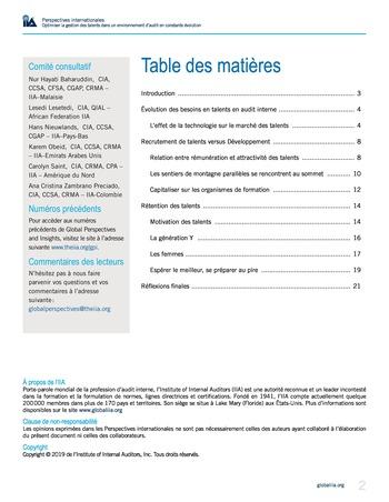 Perspectives internationales - Optimiser la gestion des talents dans un environnement d'audit en constante évolution page 2