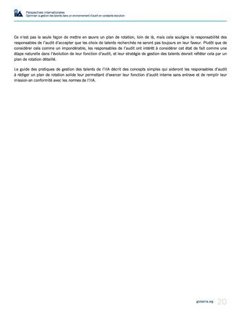 Perspectives internationales - Optimiser la gestion des talents dans un environnement d'audit en constante évolution page 20