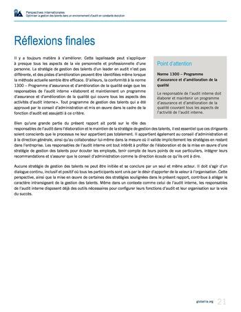 Perspectives internationales - Optimiser la gestion des talents dans un environnement d'audit en constante évolution page 21