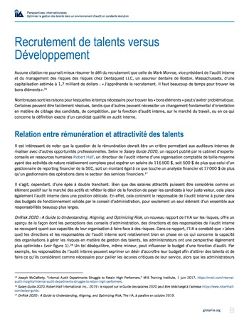 Perspectives internationales - Optimiser la gestion des talents dans un environnement d'audit en constante évolution page 8