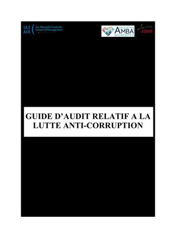 Prix Olivier Lemant 2019 - Guide d'audit relatif à la lutte anti-corruption page 1