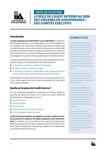 Prise de position - Le rôle de l'audit interne au sein des organes de gouvernance - des comités exécutifs page 1