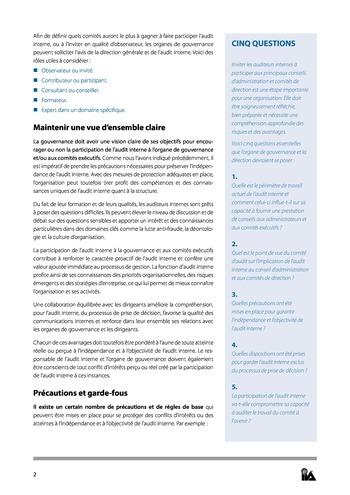 Prise de position - Le rôle de l'audit interne au sein des organes de gouvernance - des comités exécutifs page 2