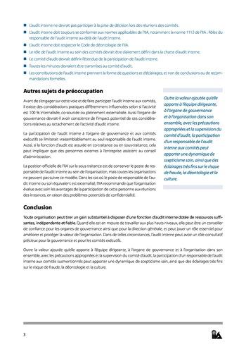Prise de position - Le rôle de l'audit interne au sein des organes de gouvernance - des comités exécutifs page 3
