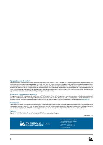 Prise de position - Le rôle de l'audit interne au sein des organes de gouvernance - des comités exécutifs page 4