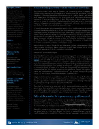 Tone at the top 96 - Evaluer la gouvernance page 2