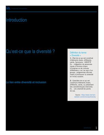 Perspectives internationales - Les avantages de la diversité et de l'inclusion pour les organisations page 3
