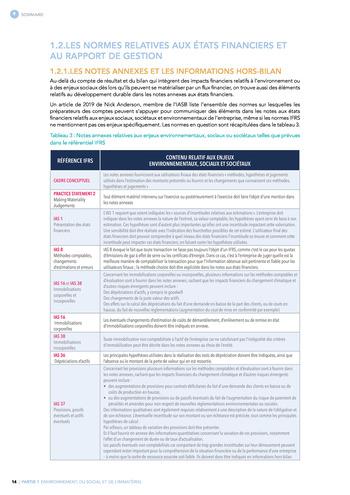 Quelles connexions entre la comptabilité financière et le non-financier ? / Synthèse / Audencia page 14
