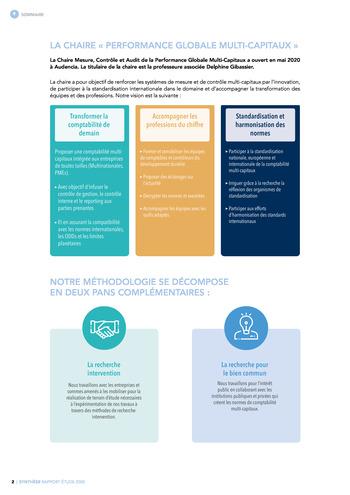 Quelles connexions entre la comptabilité financière et le non-financier ? / Synthèse / Audencia page 2