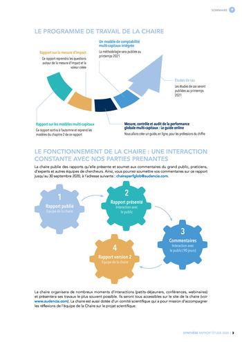 Quelles connexions entre la comptabilité financière et le non-financier ? / Synthèse / Audencia page 3