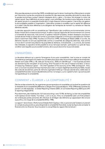 Quelles connexions entre la comptabilité financière et le non-financier ? / Synthèse / Audencia page 8