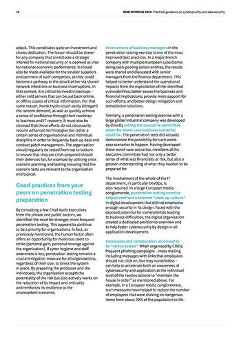 Risk in Focus 2021 - Guide pratique - Cybersecurité et sécurité des données page 10