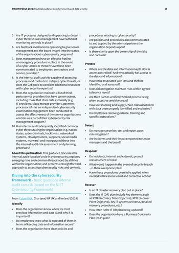 Risk in Focus 2021 - Guide pratique - Cybersecurité et sécurité des données page 13