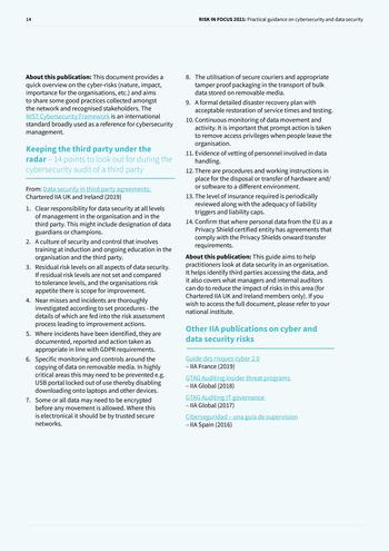 Risk in Focus 2021 - Guide pratique - Cybersecurité et sécurité des données page 14