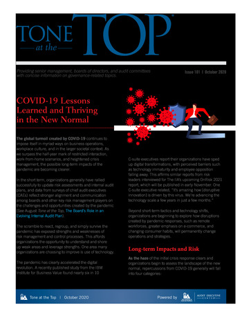 Tone at the top 101 - COVID-19 Lessons Learned and Thriving in the New Normal - Octobre 2020 page 1