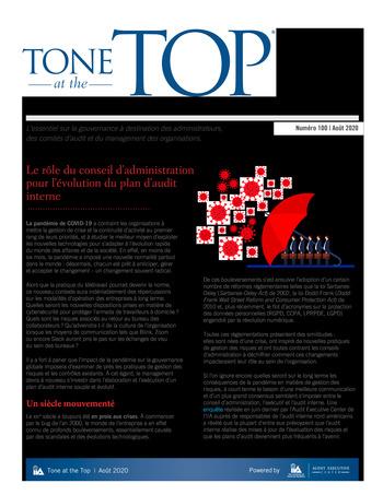 Tone at the top 100 - Le rôle du conseil d'administration pour l'évolution du plan d'audit interne - août 2020 page 1