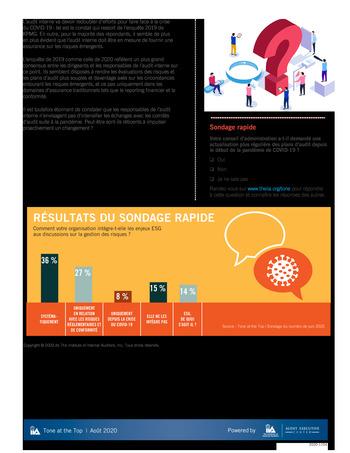 Tone at the top 100 - Le rôle du conseil d'administration pour l'évolution du plan d'audit interne - août 2020 page 4