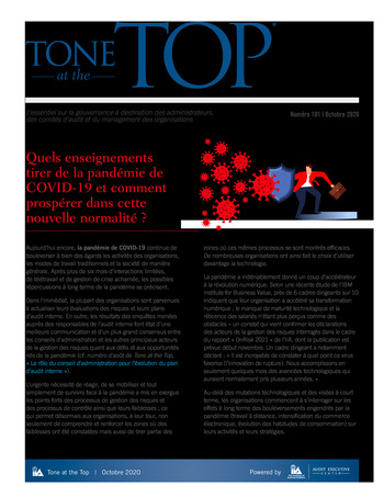Tone at the top 101 - Quels enseignements tirer de la pandémie de COVID-19 - Octobre 2020 page 1
