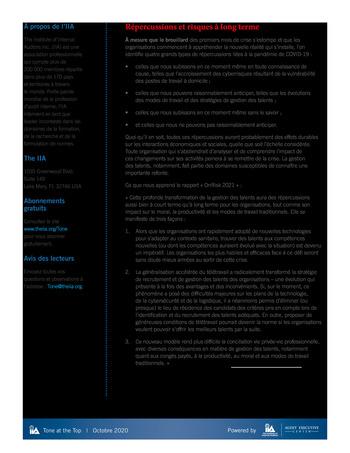 Tone at the top 101 - Quels enseignements tirer de la pandémie de COVID-19 - Octobre 2020 page 2